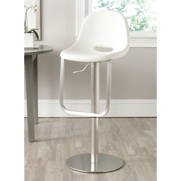 Safavieh Andrina White Leather Adjustable 20-32-inch Swivel Modern Bar Stool