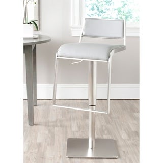 Safavieh 28.7-38.6-inch Natania Grey Leather Adjustable Swivel Bar Stool