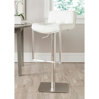 Safavieh 24.8-34.2-inch Newman White Leather Adjustable Swivel Bar Stool