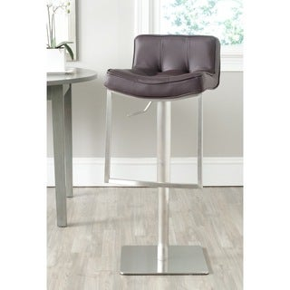 Safavieh Newman Brown Leather Adjustable 25-34-inch Swivel Modern Bar Stool