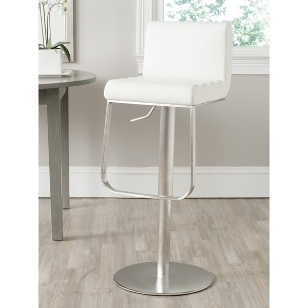 shop safavieh 24 33 1 inch stanley white leather adjustable swivel bar stool free shipping. Black Bedroom Furniture Sets. Home Design Ideas