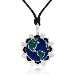 Dolce Giavonna Blue and Green Enamel 'Go Green' Themed Necklace