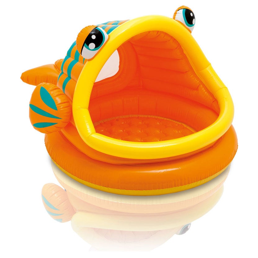 Intex Recreation Lazy Fish Inflatable Baby Shade Pool, Orange (Plastic)