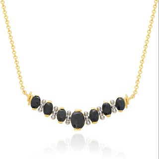 Dolce Giavonna 14k Gold Overlay Sapphire Necklace