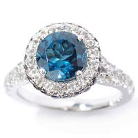 Sterling Silver London Blue Topaz, Iolite and White Topaz Halo Ring
