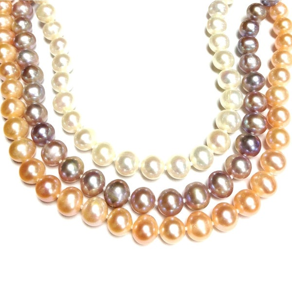 Neda Behnam Sterling Silver Peach, Lavender and White Round Freshwater Pearl Necklace. Opens flyout.
