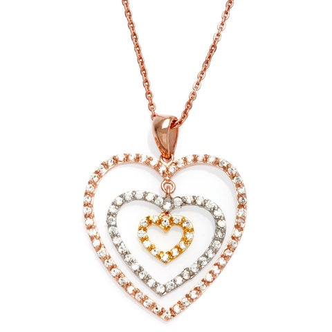 "Tri-Color Gold Plated Sterling Silver CZ Mobile Heart Necklace (16"" + 1"" extension)"