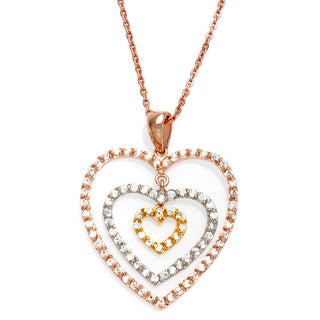 "Sterling Essentials Tri-Color Gold Plated Silver CZ Mobile Heart Necklace (16"" + 1"" extension)"