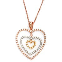"Roberto Martinez Tri-Color Gold Plated Silver Heart Necklace (16"" + 1"" extension)"
