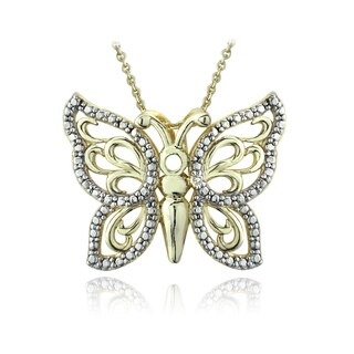 DB Designs Two-tone Diamond Accent Filigree Butterfly Necklace