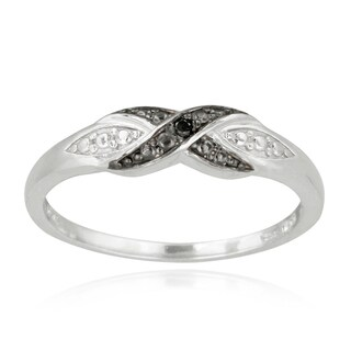 DB Designs Sterling Silver Black Diamond Accent Twist Ring