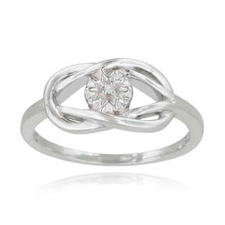 DB Designs Sterling Silver Diamond Accent Love Knot and Flower Ring