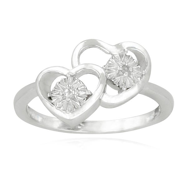 DB Designs Sterling Silver Diamond Accent Double Hearts Ring