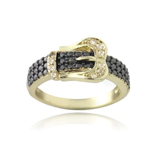 Glitzy Rocks Gold Over Silver White Topaz and Champagne Diamond Accent Buckle Ring