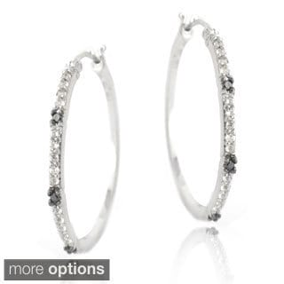 Glitzy Rocks Sterling Silver White Topaz and Diamond Accent Hoop Earrings