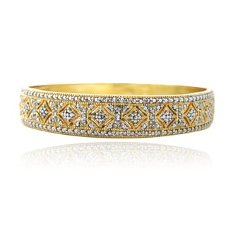 DB Designs Goldtone 1/4ct TDW Diamond Bangle Bracelet (I-J, I2-I3)