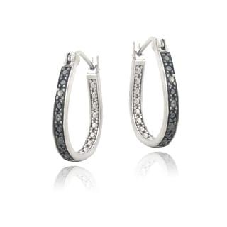 DB Designs Sterling Silver 1/10ct TDW Black Diamond Earrings