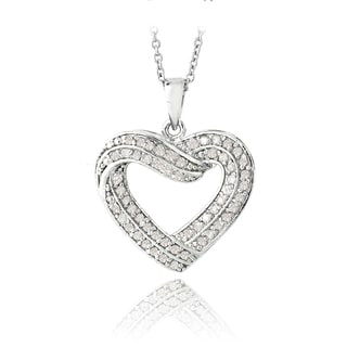 DB Designs Silvertone 1/2 ct TDW Diamond Heart Necklace