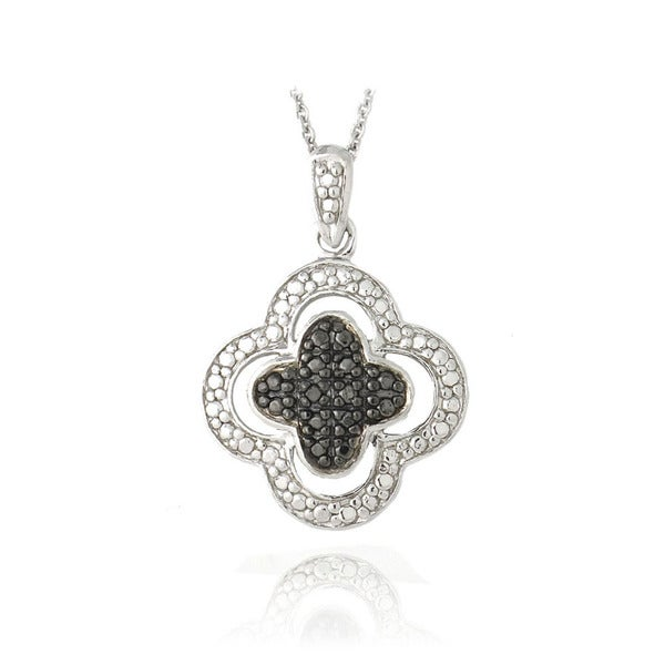 DB Designs Sterling Silver Black Diamond Accent Clover Necklace