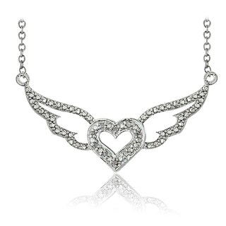 DB Designs Silvertone 1/10ct TDW Diamond Winged Heart Necklace (I-J, I2-I3)