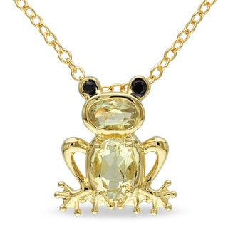 Miadora Yellow Flashplated Silver Lemon Quartz Frog Necklace