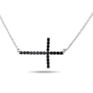 Miadora Sterling Silver 2/5ct TGW Sapphire Sideways Cross Necklace