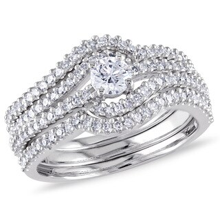 Miadora Signature Collection 14k White Gold 3/4ct TDW Four Row Swirl Diamond Ring (G-H, I1-I2)