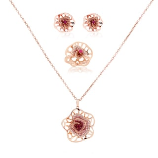 Blue Box Jewels Pink Flower Earrings, Ring and Necklace Set