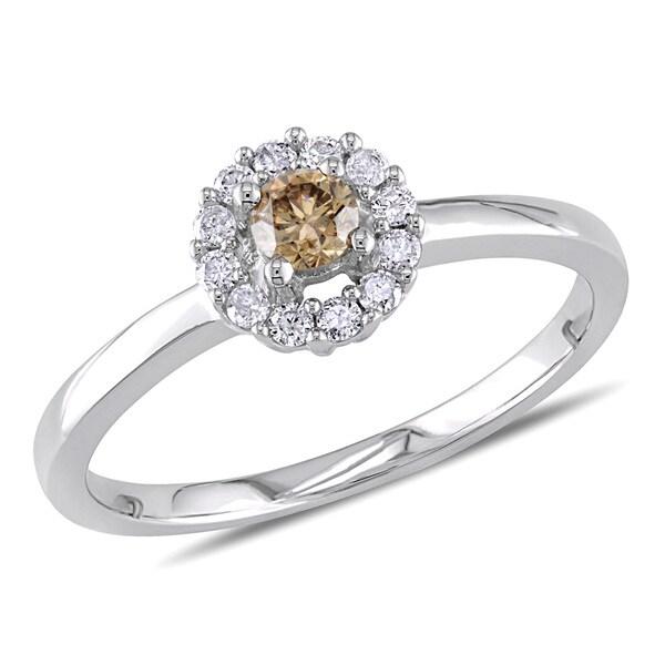 Miadora 10k White Gold 1/4ct TDW Brown and White Diamond Halo Ring