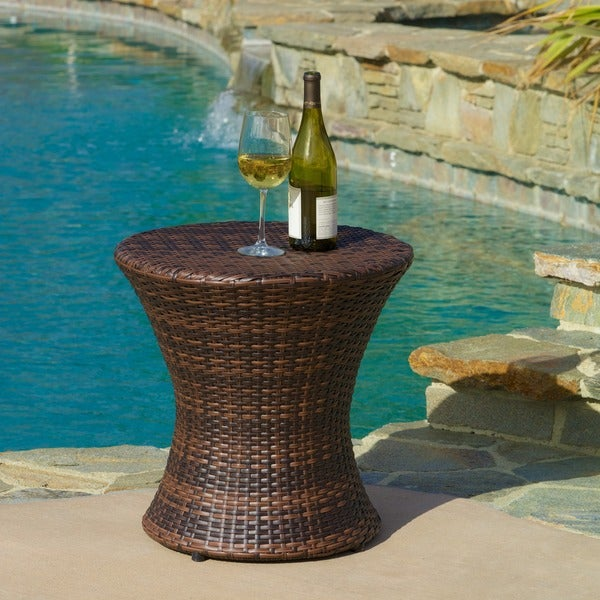 Adriana PE Wicker Outdoor Side Table By Christopher Knight