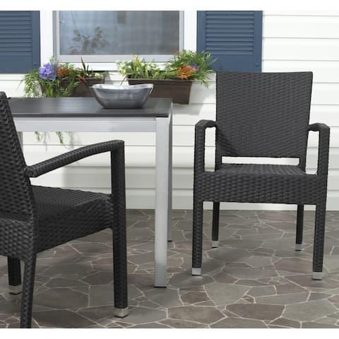 Safavieh Indoor/ Outdoor Kelda Black Arm Chair (Set of 2)