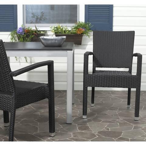 """Safavieh Indoor/ Outdoor Kelda Black Arm Chair (Set of 2) - 22""""x23""""x33.8"""""""