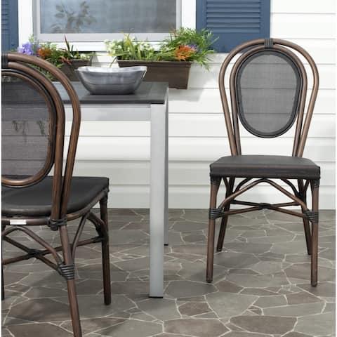 "SAFAVIEH Rural Woven Dining Indoor/ Outdoor Esben Black Side Chairs (Set of 2) - 16.9""x22.2""x35.8"""