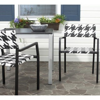Safavieh Rural Woven Dining Indoor/ Outdoor Halden White/ Black Arm Chairs (Set of 2)