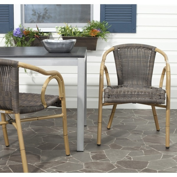 Safavieh Indoor/ Outdoor Dagny Woven Chocolate Arm Chair (Set of 2 ...