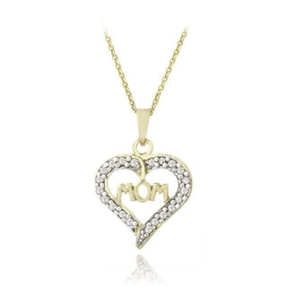 DB Designs 18k Gold Over Silver 1/8ct TDW Diamond Heart Mom Necklace