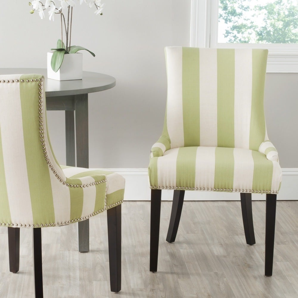 Details About Safavieh En Vogue Dining Lester Green White Stripe Chairs Set Of 2