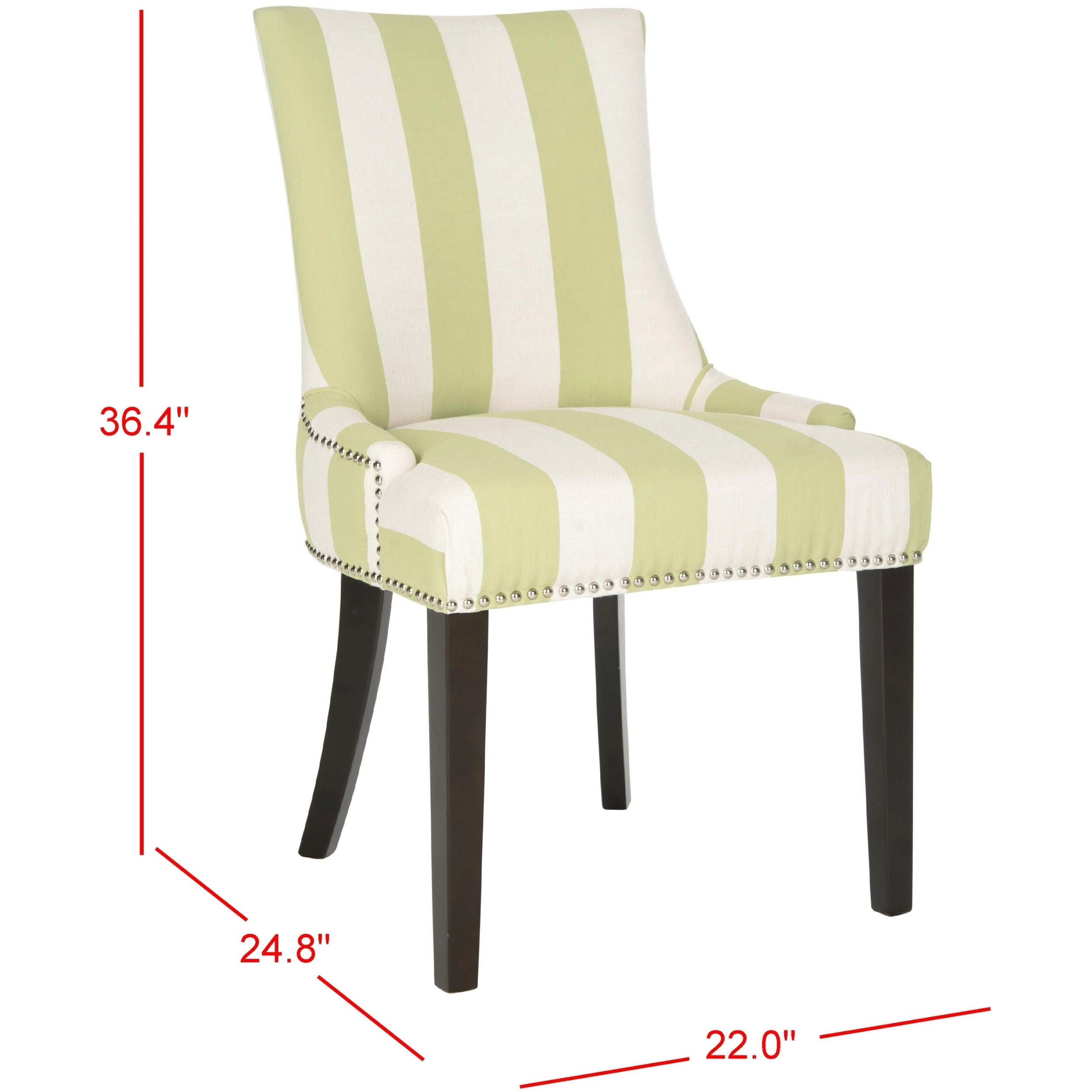 Safavieh Dining Lester Green White Stripe Chairs Set Of 2