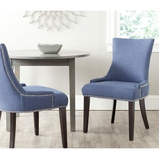 "Link to Safavieh Dining Lester Light Denim Blue Chairs (Set of 2) - 22"" x 24.8"" x 36.4"" Similar Items in Dining Room & Bar Furniture"