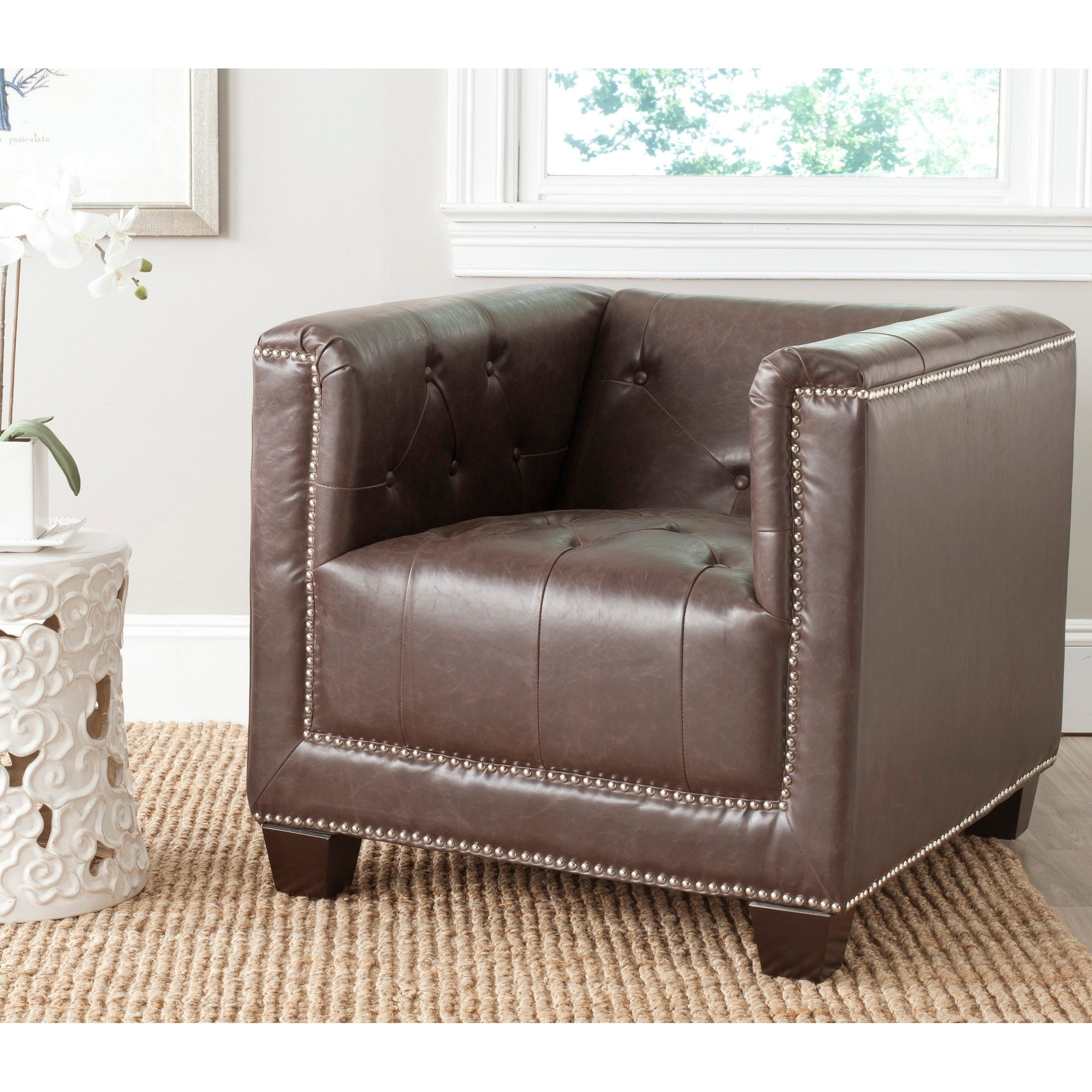 Safavieh Bentley Antique Brown Chair (MCR4574D) (Faux Lea...
