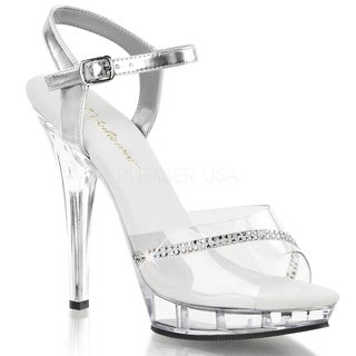 Fabulicious Women's 'Lip-108R' Clear Ankle Strap Heels