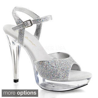 Fabulicious Women's Cocktail-509G Glittery Ankle Strap Stiletto Heels