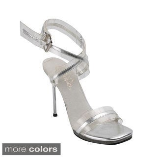 Fabulicious Women's 'Chic-05' Clear Two-tone Ankle Wrap Stiletto Heels