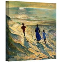 Timothy Easton 'Beach Walk' Gallery-wrapped Canvas Wall Art  - Multi