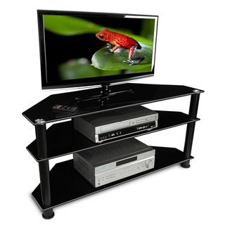Mount-It! 130 lb Capacity, Media Center and Home Theater AV Storage with 3 Tempered Glass Shelves for up to 52-inch Screens