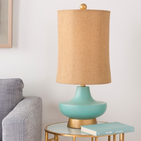 Turquoise over Bronze Natural Shade Lamp