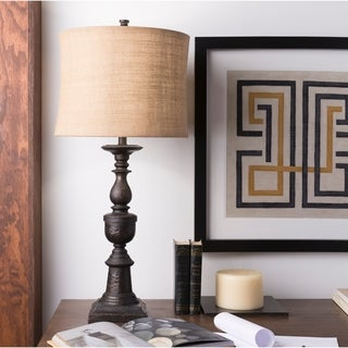 Crowning Classic Textured Bronze Natural Shade Lamp