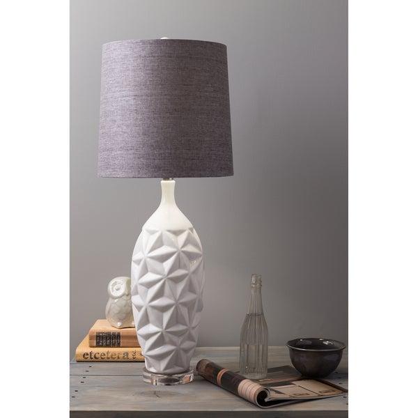 Glamorous Grey Linen White Ceramic Lamp