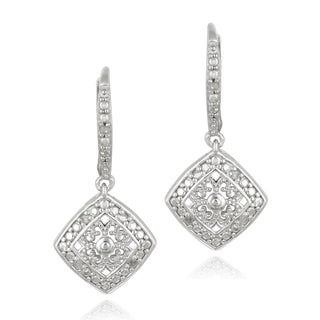 DB Designs Sterling Silver 1/10ct TDW Diamond Filigree Earrings