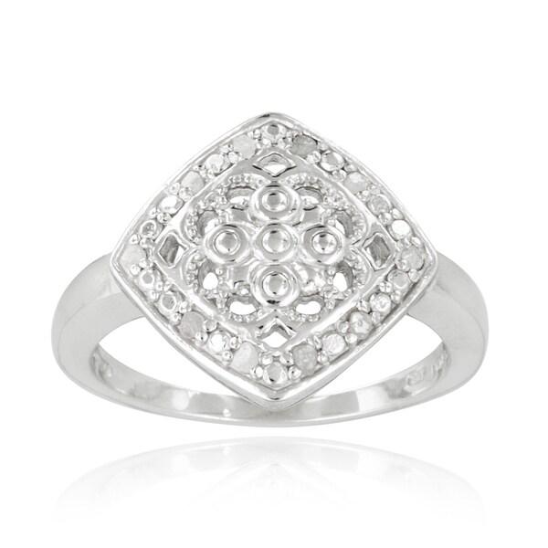 DB Designs Sterling Silver 1/10ct TDW Diamond Filigree Medallion Ring